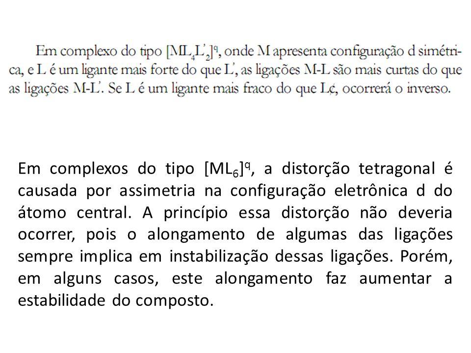 Em complexos do tipo [ML6]q, a distorção tetragonal é causada por assimetria na configuração eletrônica d do átomo central.